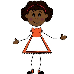 Stick figure african american girl wearing bows and orange.