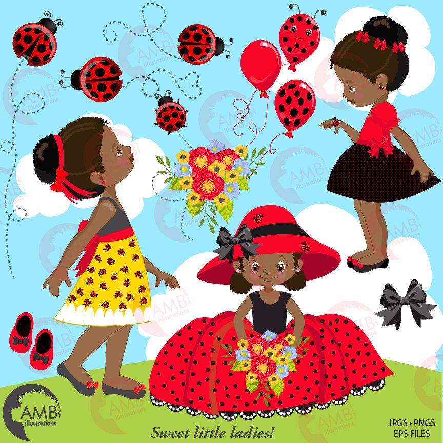 Ladybug clipart, Little Ladybug African American girls clipart.