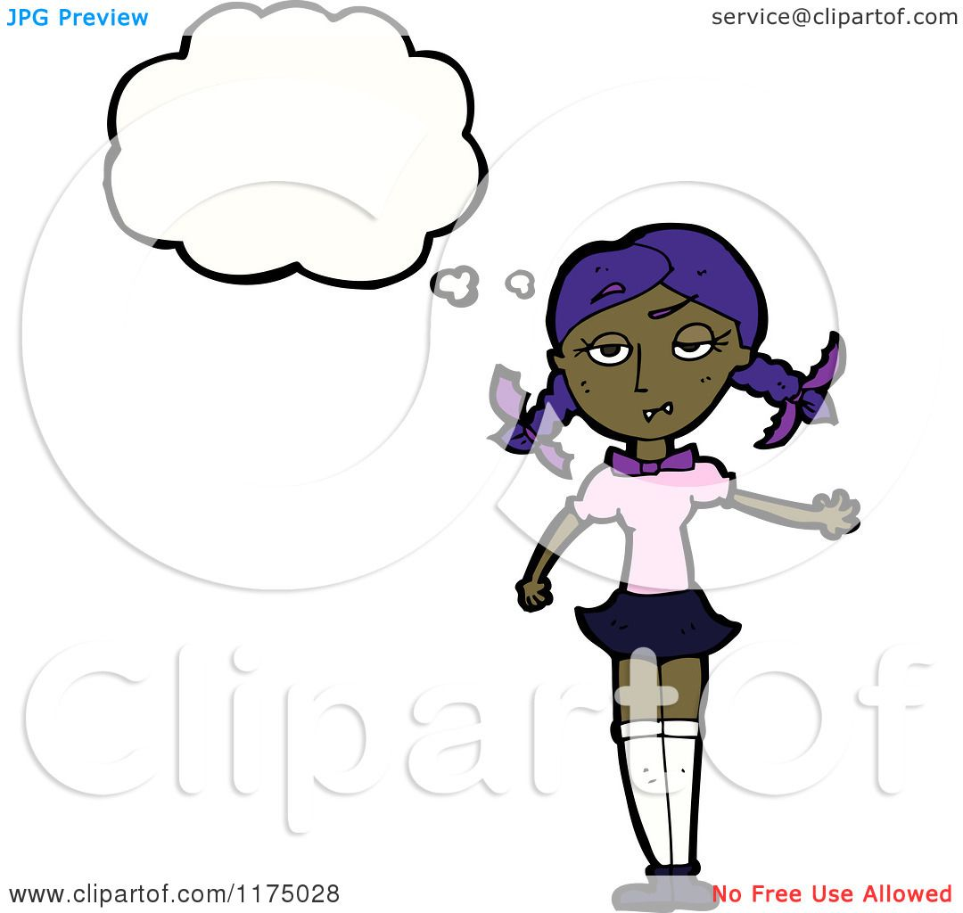 Cartoon of an African American Girl in Pigtails with a.