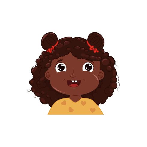 Little dark skinned girl cute smiling. Happy emotion African.