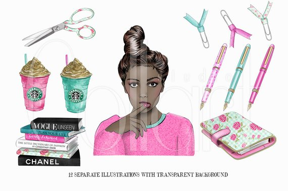 Planner Girl Clipart, African American Girl Hand Drawn.