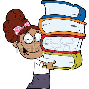 African American Girl With Pink Polka Dot Bow In Her Hair Carrying Books  Books clipart. Royalty.
