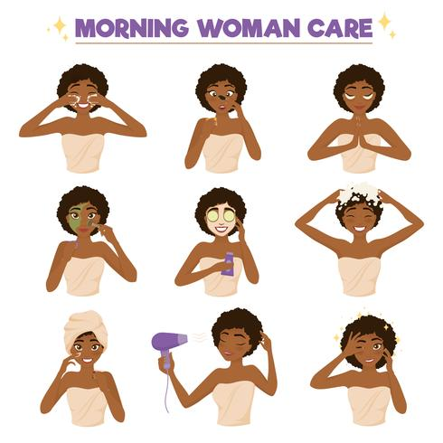 Afro American Woman Morning Routine Icon Set.
