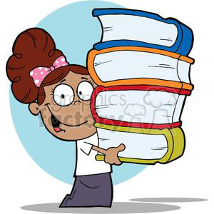 A African American School Girl With Books In Their Hands clipart.  Royalty.