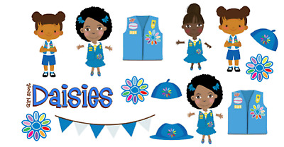 15 Daisy Girl Scout African American variety stickers for planners &  scrapbooks.
