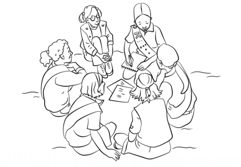 Girl Scouts coloring page.