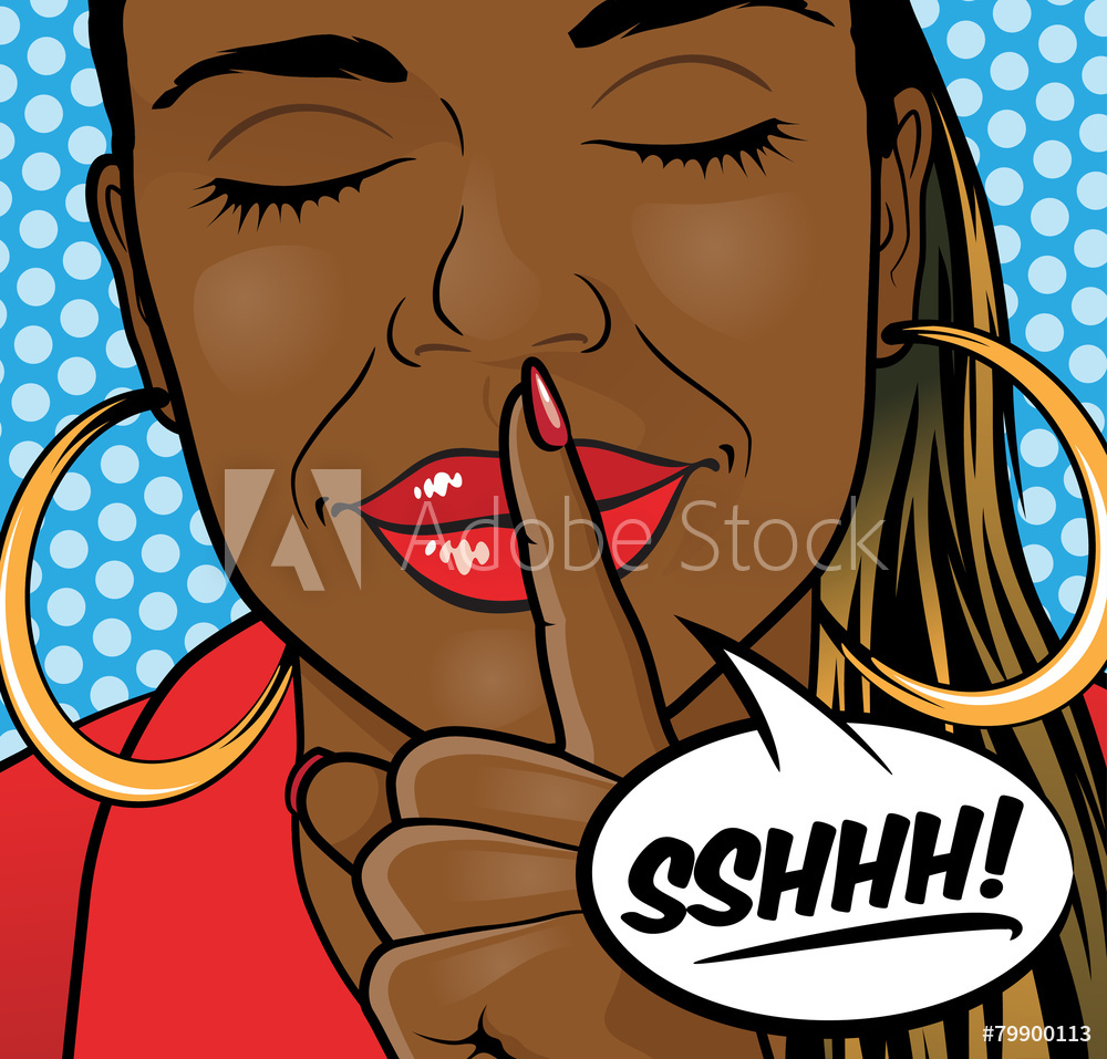 Photo & Art Print Pop Art African American Girl Sshhh Lips.