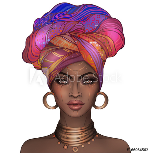 African American pretty girl. Raster Illustration of Black.