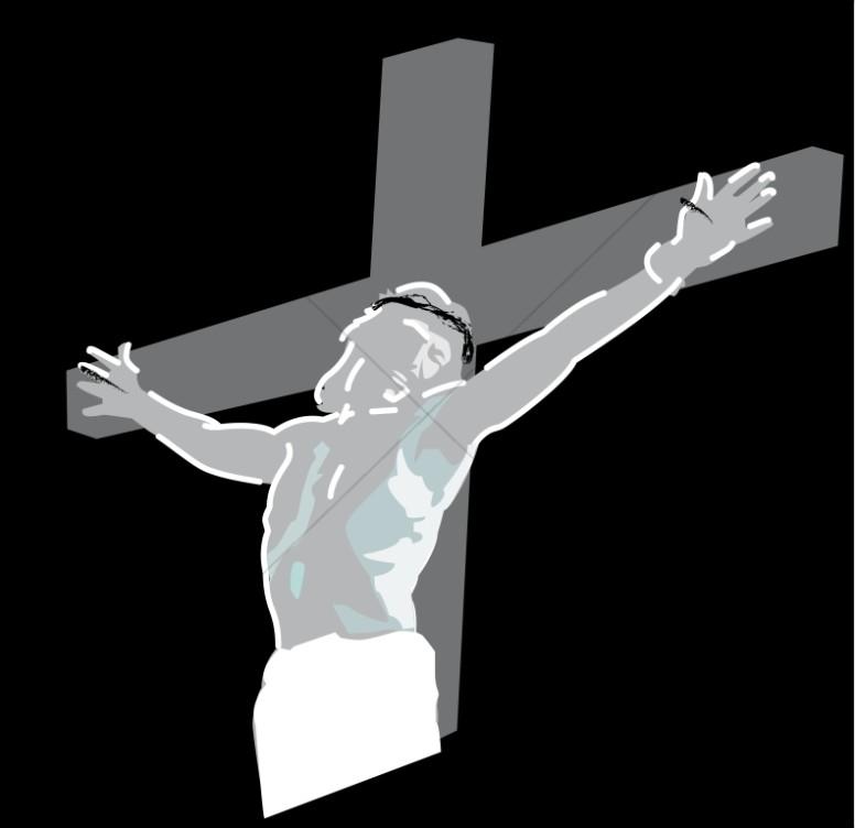 Crucifixion of Jesus Christ on Black.