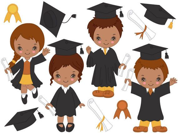 African American Graduation Kids Clipart.