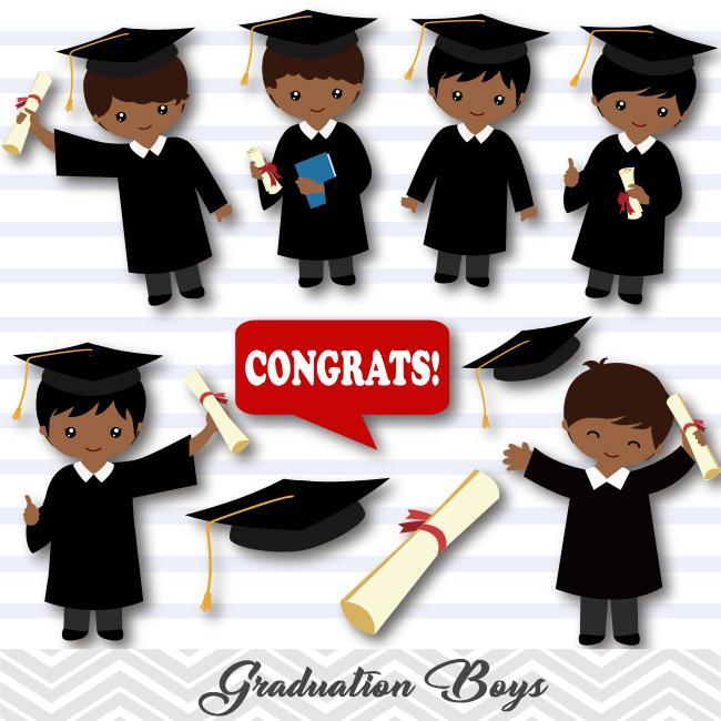 African American Graduation Boys Clip Art, Boys Graduate Clipart, Preschool  Kindergarten Graduation Clipart, 00285.