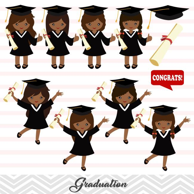 African American Graduation Girls Clip Art, Girls Graduate Clipart,  Preschool Kindergarten Graduation Clipart, 00284.