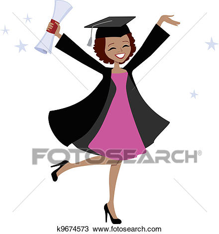 Graduate African American Woman Clipart.