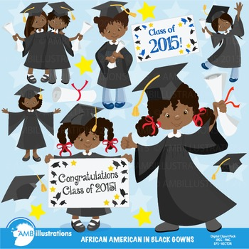 Graduation Clipart, African American Girls Clipart,Black Gowns Clipart,  AMB.