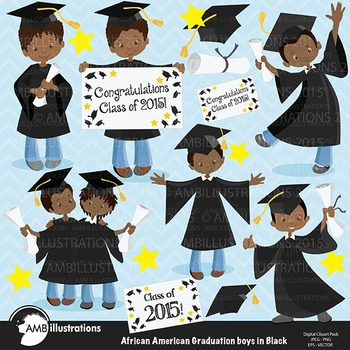 Graduation Clipart, African American Boys Clipart, Black Gowns Clipart,  AMB.