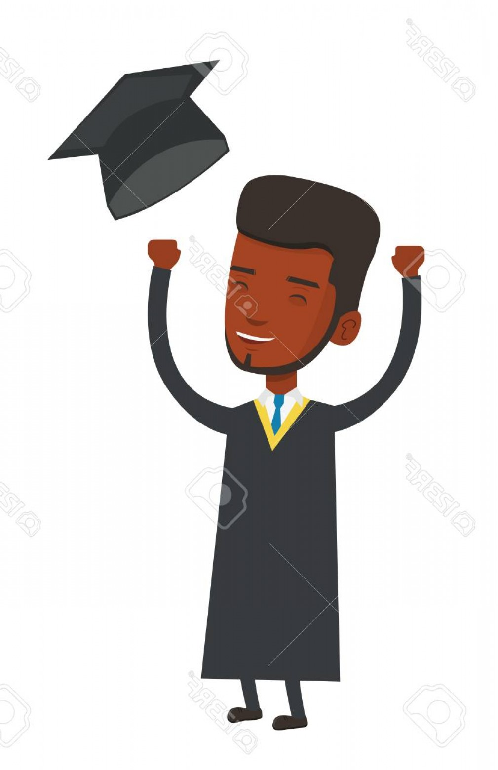 Photostock Vector African American Graduate Throwing Up His Hat.