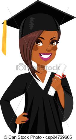 African American Graduation Girl.
