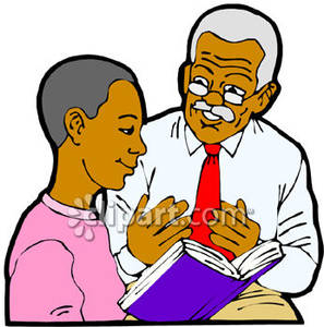 African American Grandpa Explaing a Book To His Grandson.