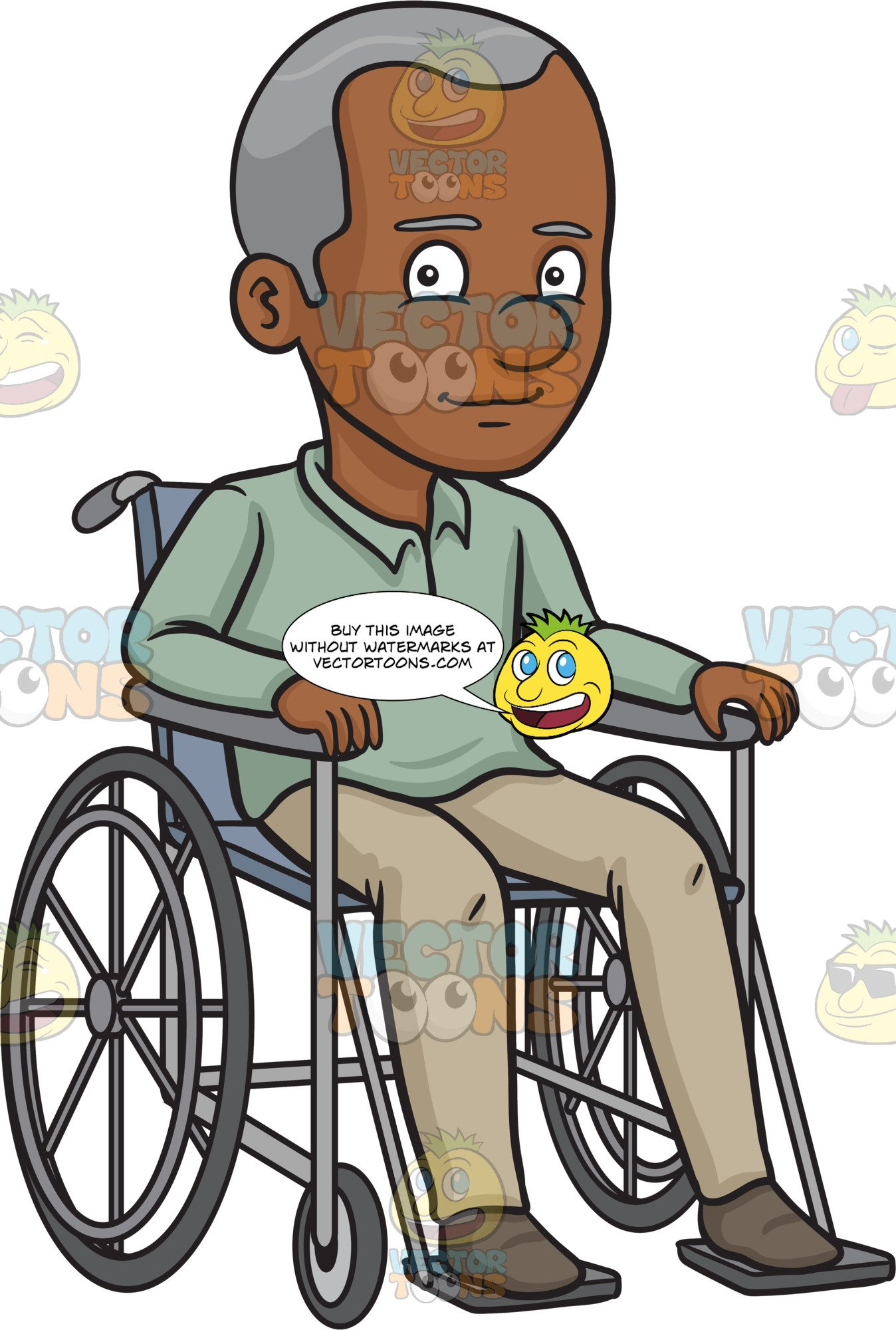 A Black Happy Grandfather Sitting In A Wheelchair.