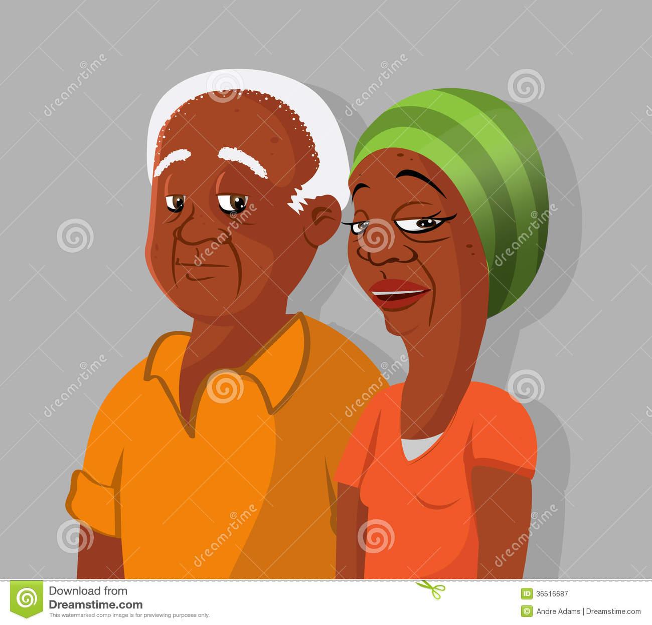 Black Grandparents Clipart.