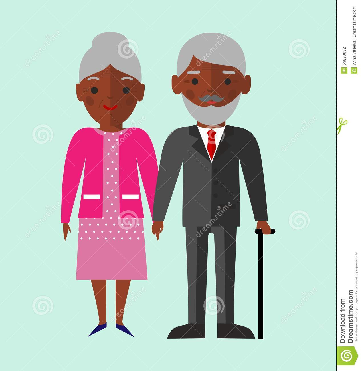 African American Grandfather Clipart.
