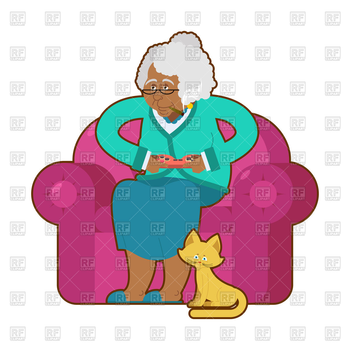 African American grandmother and joystick. Old woman on an armchair with  gamepad. Stock Vector Image.