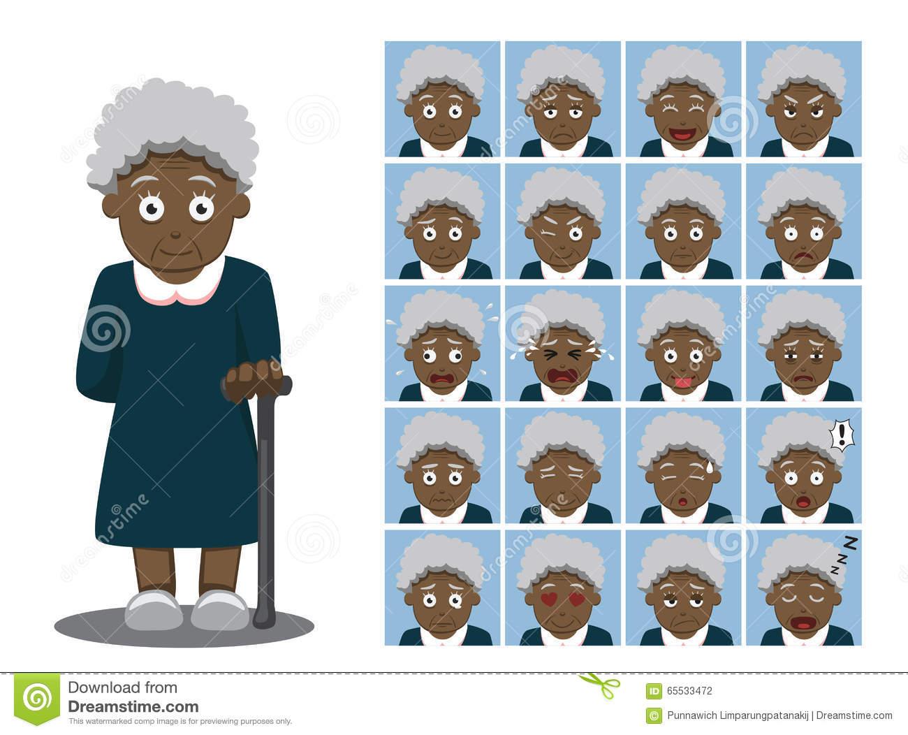 African American Grandma Cartoon Emotion Faces Vector Illustration.