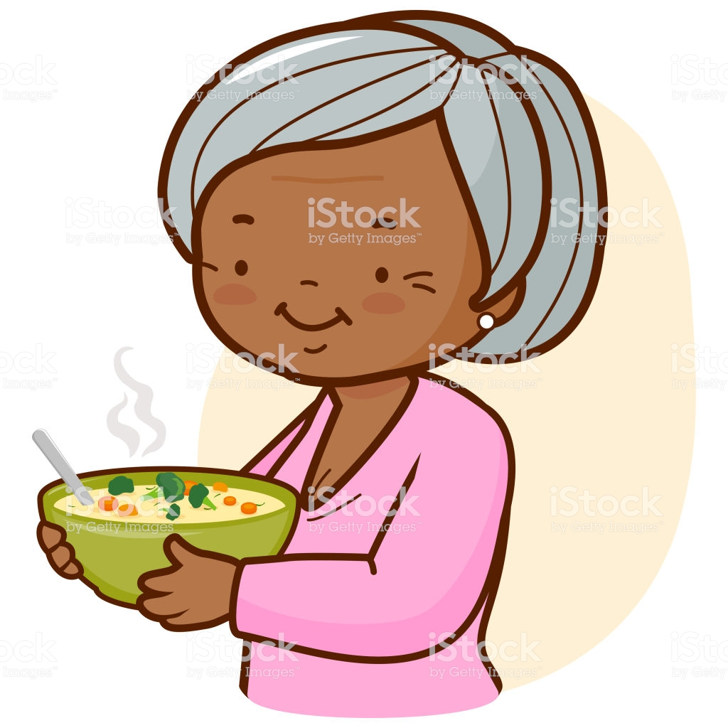 African American Grandma Holding A Bowl Of Soup Stock Illustration.