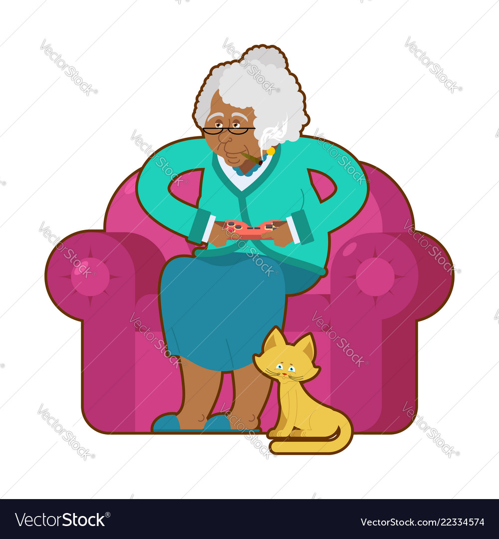 African american grandmother and joystick black.