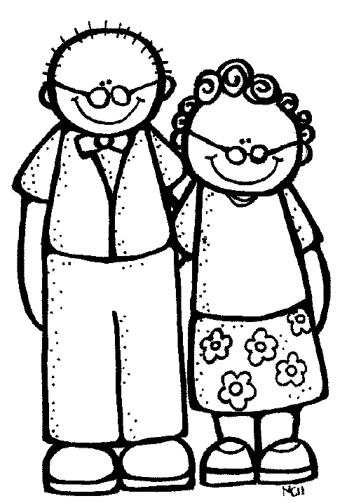 Grandparents Clipart Black And White.