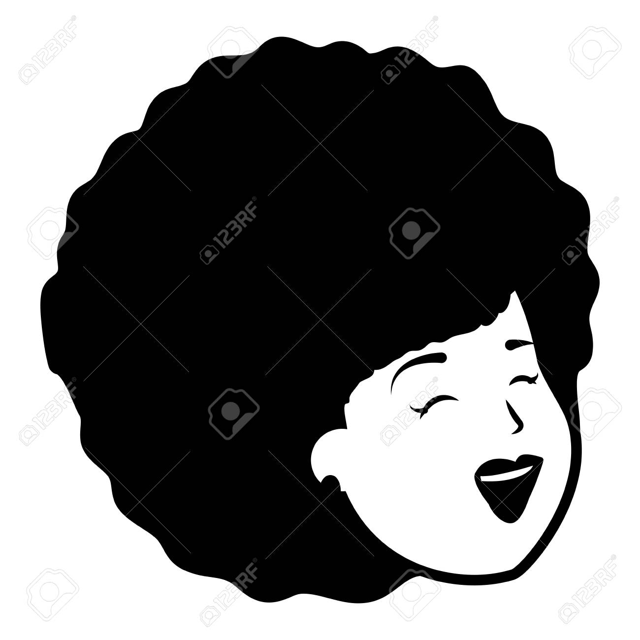 african american woman face on white background.