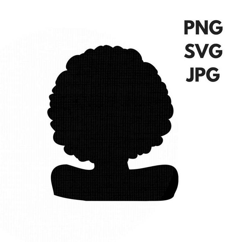 Afro SVG Silhouette Clip Art Afro Natural Hair PNG Files Digital Art Cut  File African American Black Queen jpg.