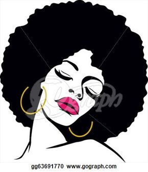 Afro Hair American Woman Vector Clipart.