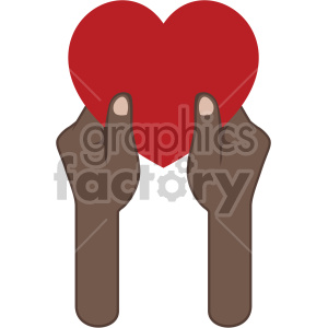 african american hands giving love valentines vector icon no background .  Royalty.