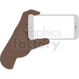 african american hand holding phone vector clipart . Royalty.