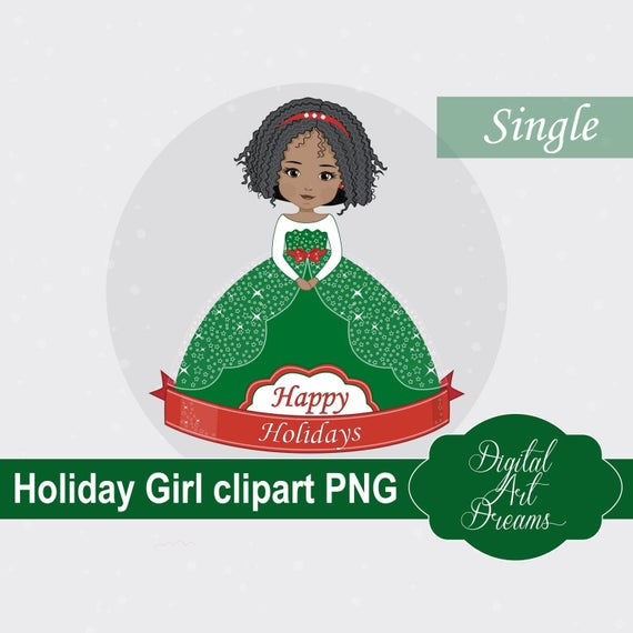Holidays Girl PNG Clipart, African American Cutie, Holiday Graphics, Xmas  Illustration, Instant Download, Cute Character, New Year Princess.