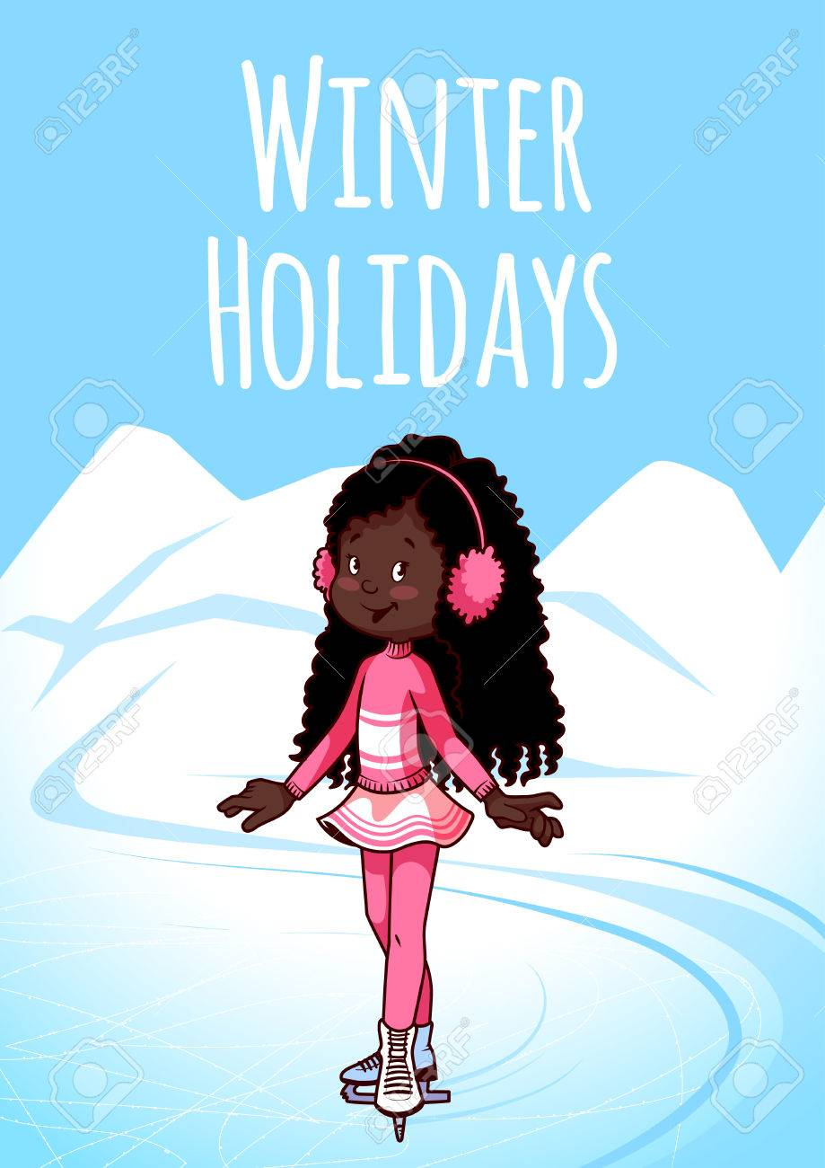 Cheerful African American girl posing on skates. Winter Holidays.