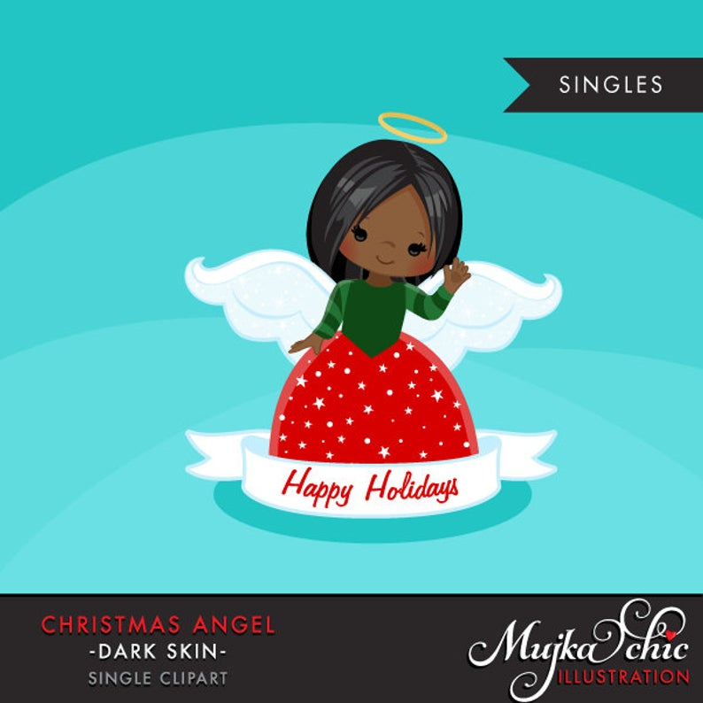 Christmas Angel Clipart 2. Dark skin African American, holiday, ornaments,  illustration, graphic, cute, character, religious.