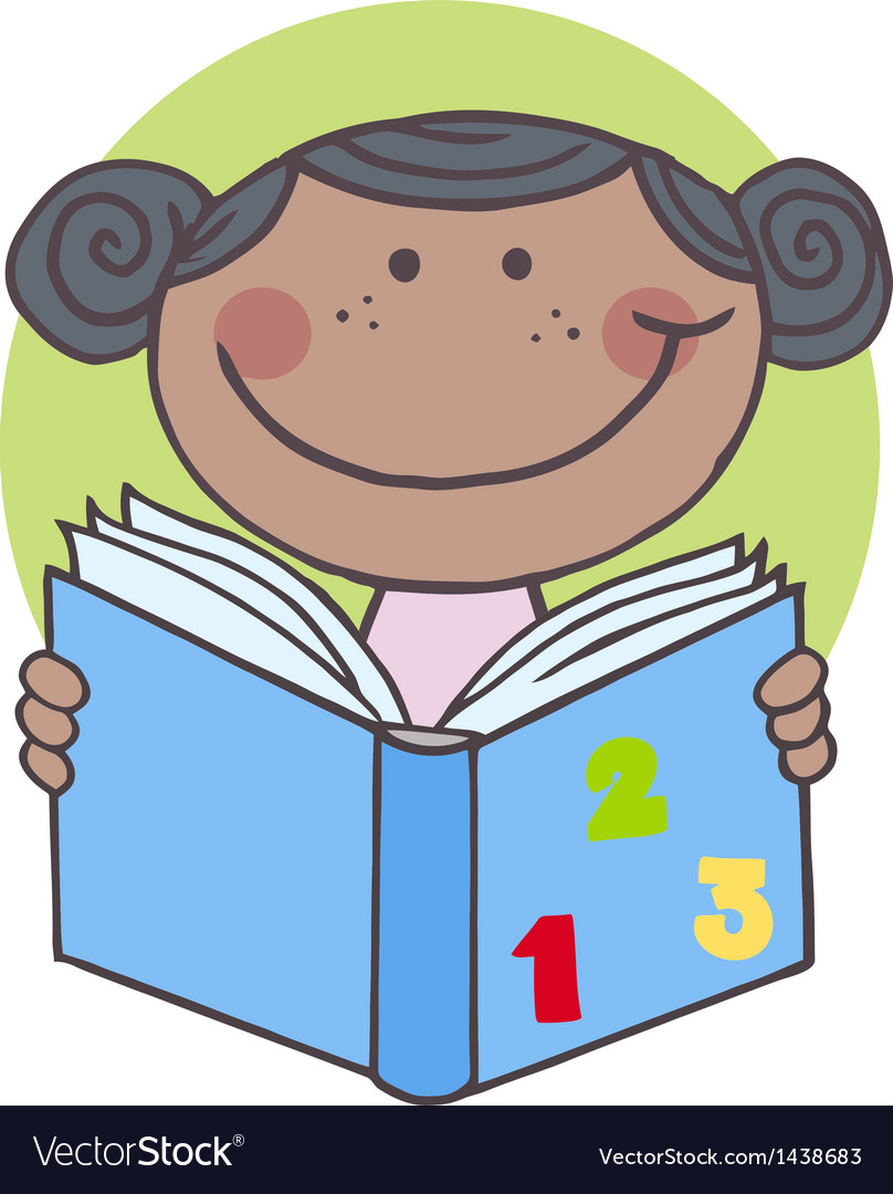 African American Kid Girl Reading A Book.