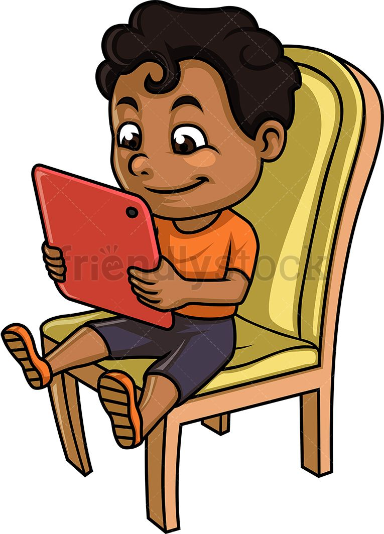 Black Kid Using A Tablet in 2019.