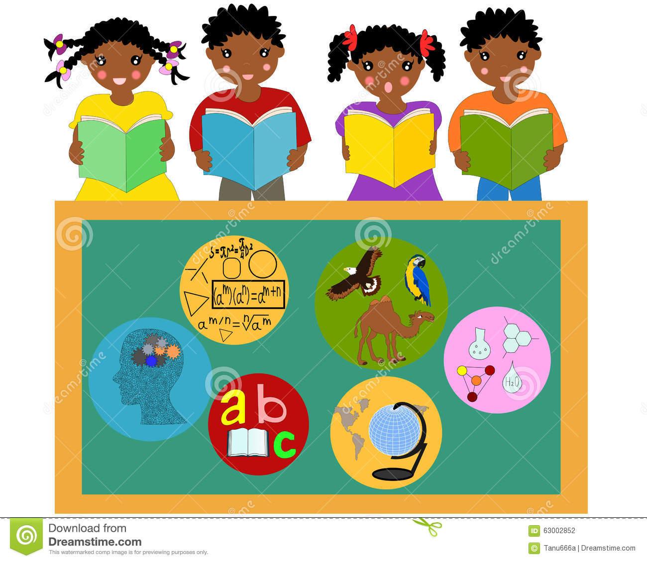 Children Reading Books In School Clipart.