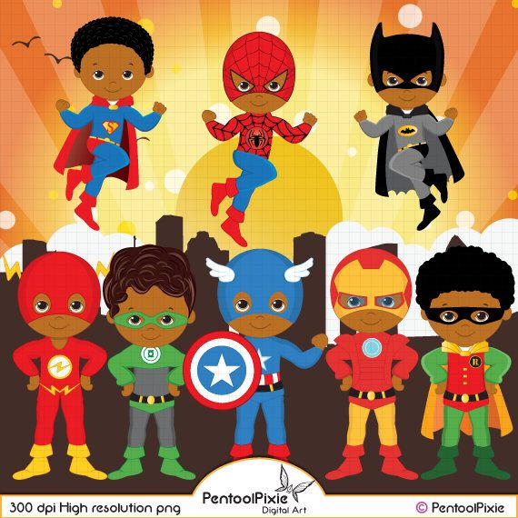 African American Superhero clipart, Super Hero clipart.