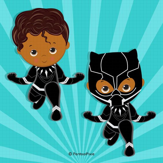 Black Panther baby clipart, Costume clipart, African clipart.