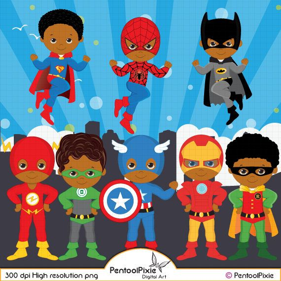 African American Superhero clipart Super Hero clipart.