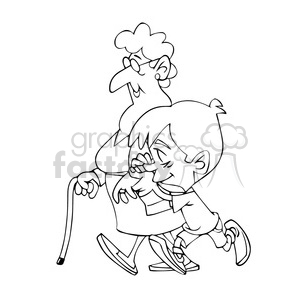 vector child walking with his grandmother in black and white clipart.  Royalty.