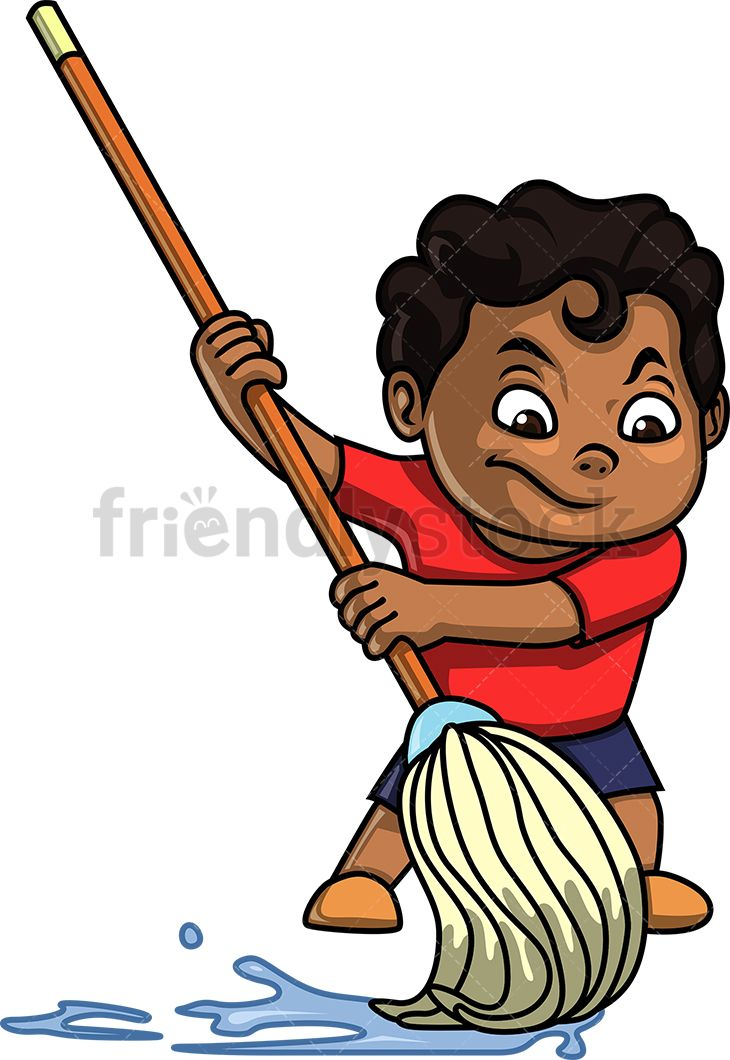 Black Kid Mopping The Floor.