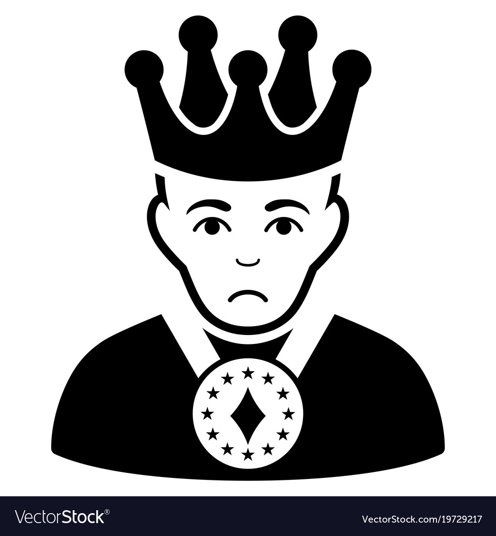 Sad king black icon.