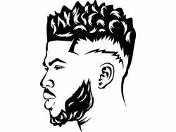 Yetta Quiller Beard Man King Life Respect Quotes Boss Kingdom Afro Hair  African American Male Vector Clipart Digital Circuit Vin.