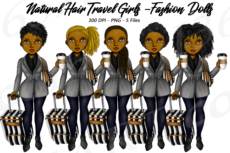 Winter Travel Girls Clipart, Black Girls, Fashion PNG.