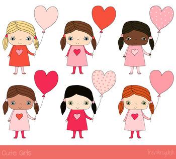 Cute girls clipart, Valentine love clip art, Children set, African American  kids.